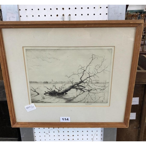 114 - Martin Hardie, Etching of Flooded Fields, Signed, 22 x 29cm...