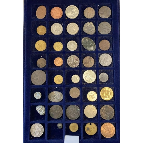 14A - Tray of Coins and Tokens - Some Silver...