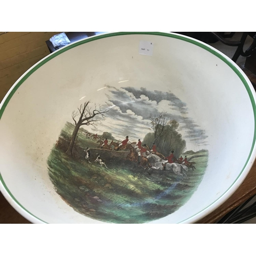 163 - Copeland Spode Large Pedestal Punch Bowl 'The Kill', with Internal and External Hunting Scene Decora...