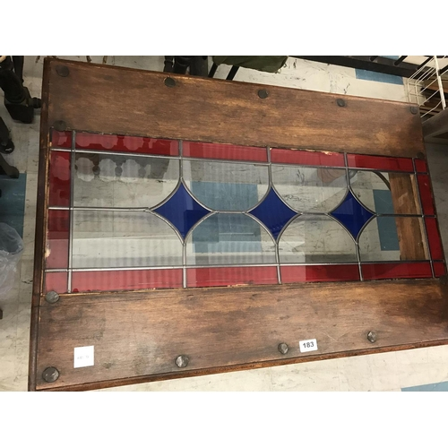 183 - Oak and Stained Glass Coffee Table...