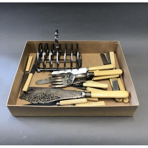 20 - Plated Toast Rack and Assorted Cutlery...