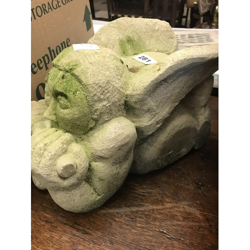 281 - Stone Gargoyle Head Playing a Pipe...