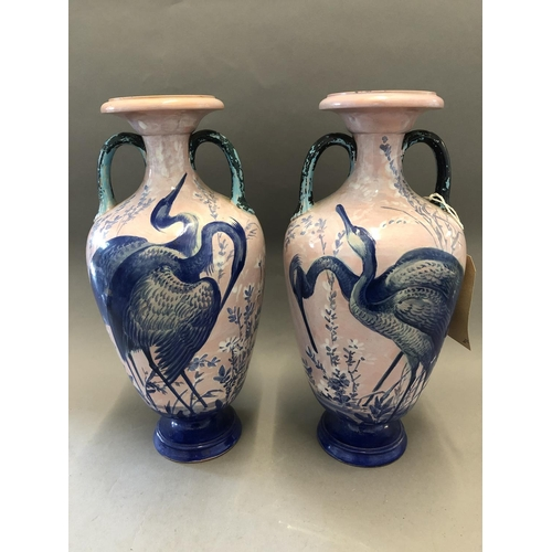 32 - Pair of Late 19thC Shooting Prize Vases by Enoch Wood, Height 31cm