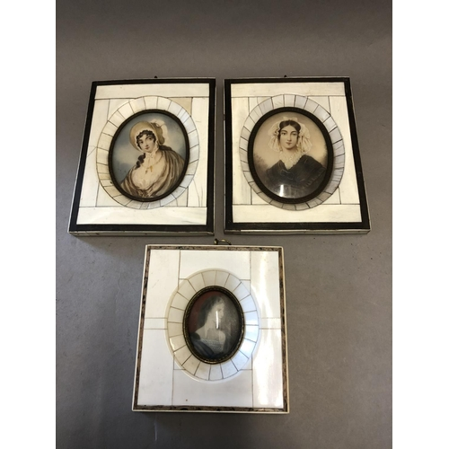 34 - Three Portrait Miniatures on Printed Bases in Ivory Frames...
