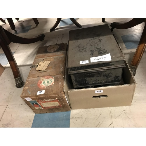 352 - Cunard Line Shipping Chest and Other Tins, etc...