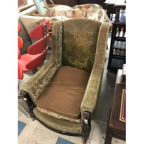 370 - Upholstered Armchair on Carved Frame, Legs Stamped 'Schoolbred London'...