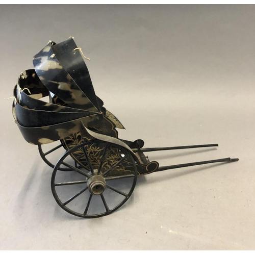 39 - Lacquered Tinplate Carriage with Tortoiseshell(?) Hood...