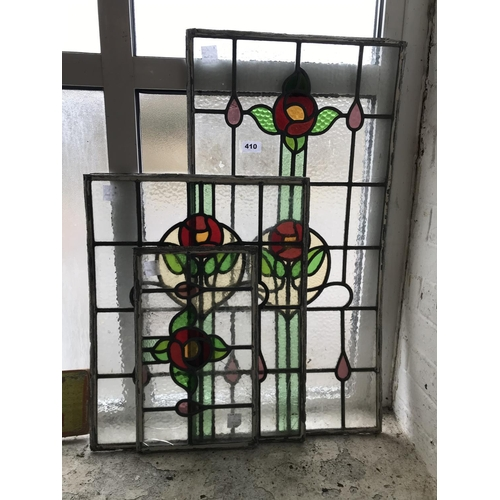 410 - Set of Three Stained Glass Panels...