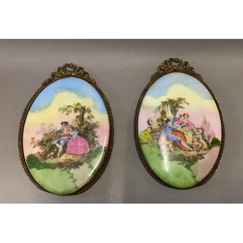 42 - Pair of Limoges, Framed Ceramic Pictures...