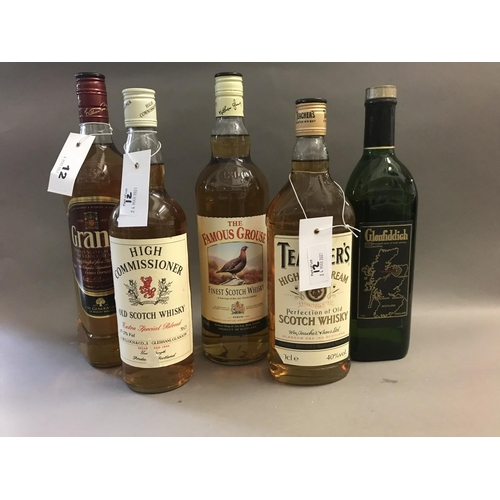 12 - Five Bottles of Assorted Whisky