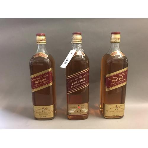 13 - Three Bottles of Johnnie Walker Red Label, 1-Litre (x3)