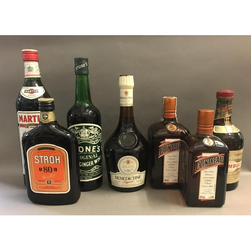 22 - Seven Assorted Bottles of Alcohol - Drambuie, Benedictine, Cointreau etc
