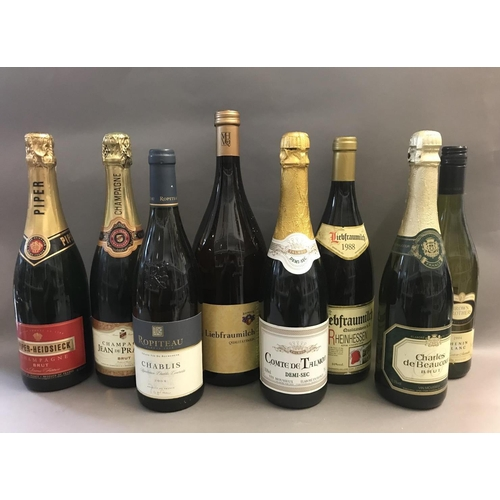 23 - Two Bottles of Champagne and Assorted Other Bottles of Wine and Alcohol