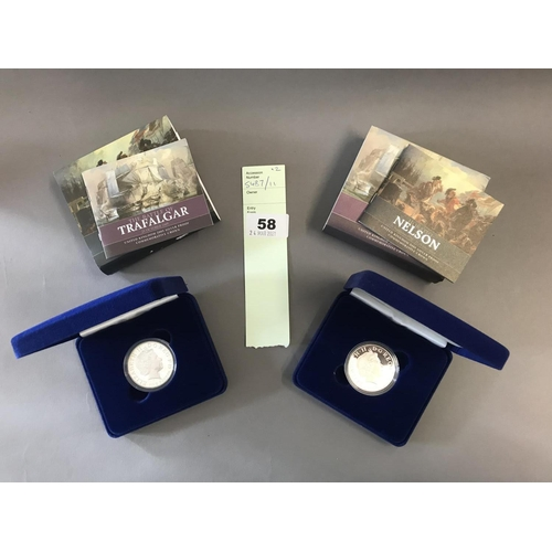 58 - Royal Mint Silver Proof Trafalgar and Nelson Coins, Cased with Paperwork