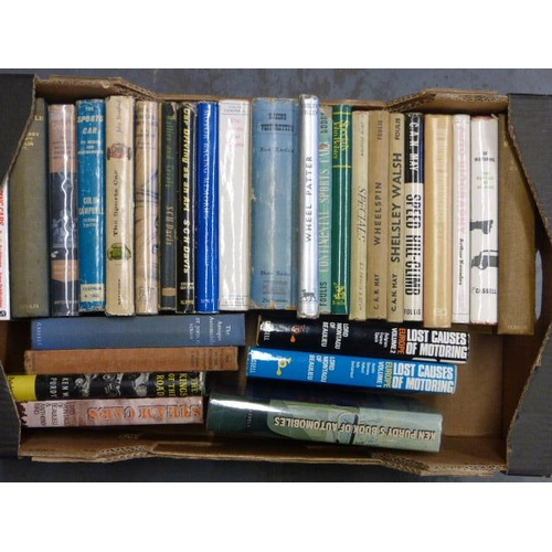 32 - A Box of Motor Racing  and other 8vo size books, to include: Wheel Patter, Motor Racing by S.C.H. Da...