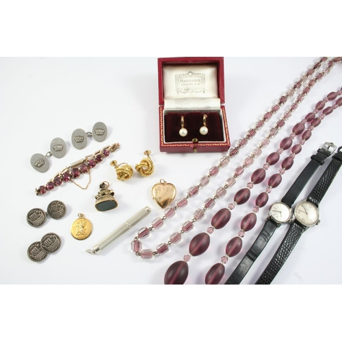 1657 - A QUANTITY OF JEWELLERY including a 9ct gold St. Christopher pendant, a pair of 9ct gold knot earrin...