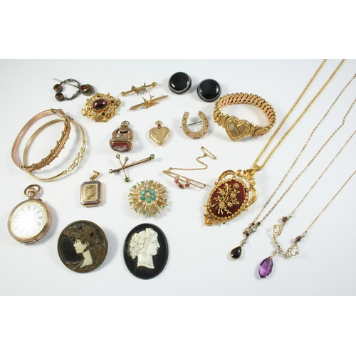 1658 - A QUANTITY OF JEWELLERY including a 9ct gold, turquoise and pearl set sunburst brooch, a ruby and pe...
