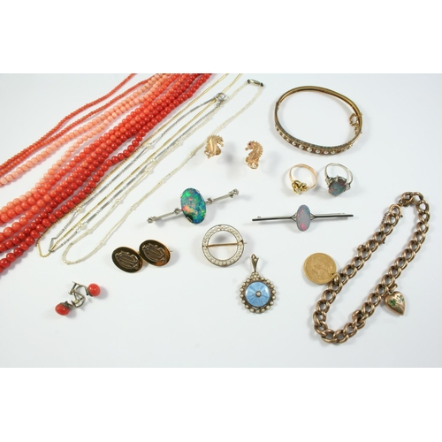 1659 - A QUANTITY OF JEWELLERY including three coral bead necklaces, a pair of coral earrings, a pair of 9c...