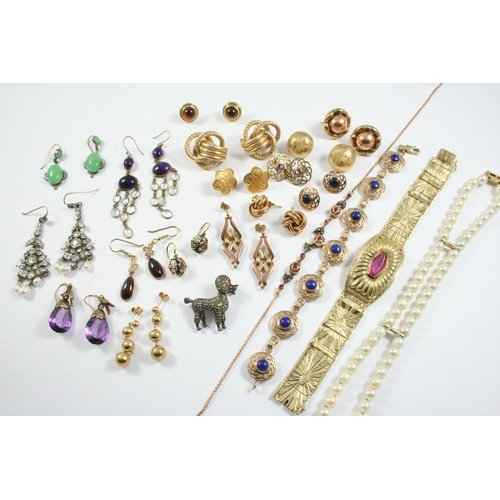 1663 - A QUANTITY OF JEWELLERY including a two row cultured pearl necklace with diamond set clasp, a ruby a...