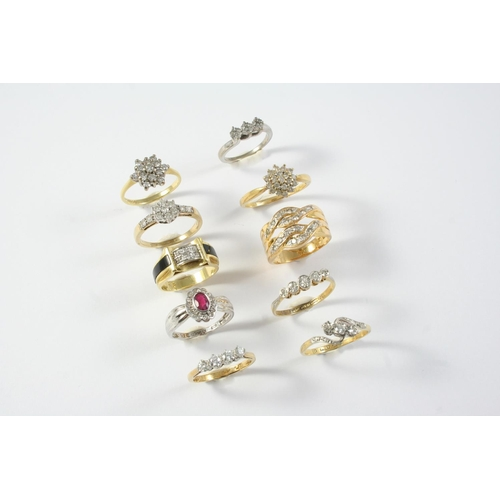 1676 - TEN ASSORTED GOLD AND GEM SET RINGS including a diamond cluster ring, set in 18ct gold, size N, a di...