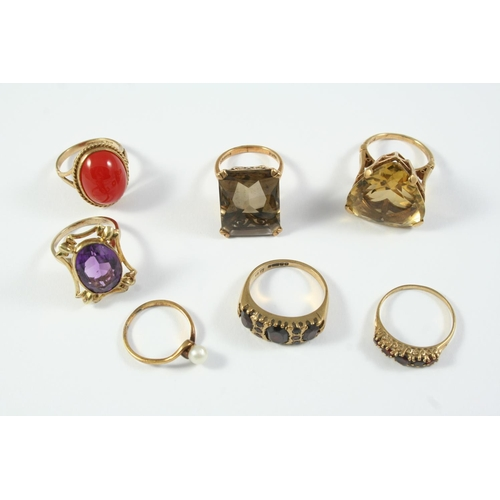 1680 - SEVEN ASSORTED GOLD AND GEM SET RINGS