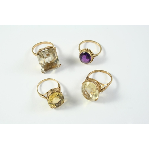 1683 - AN AMETHYST SINGLE STONE RING the oval-shaped amethyst is set in 9ct gold, size O 1/2, together with...