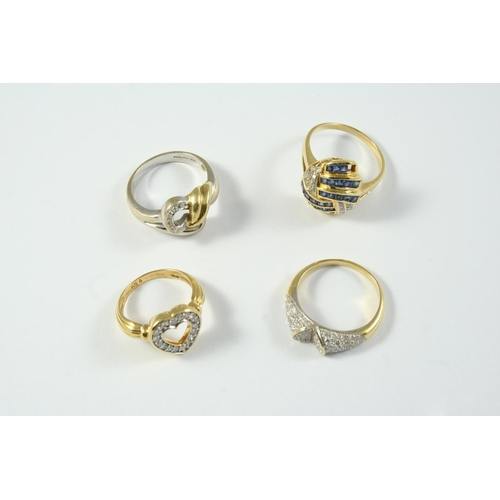 1688 - AN 18CT TWO COLOUR GOLD AND DIAMOND RING set with circular-cut diamonds, size P 1/2, together with a...