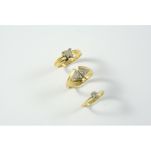 1703 - A DIAMOND SOLITAIRE RING mounted with a circular-cut diamond in 18ct gold, size N, together with ano...