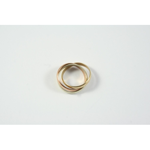 1707 - A 9CT THREE COLOUR GOLD TRIPLE BAND RING 3.9 grams. Size H 1/2