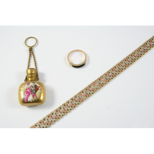 1710 - A 9CT THREE COLOUR GOLD FANCY LINK BRACELET with concealed clasp, 19cm long, 21.6 grams, and two oth...