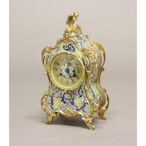 2116 - A 19TH CENTURY FRENCH MANTLE CLOCK WITH ENAMELLED CASE. The circular dial with enamelled centre sign...