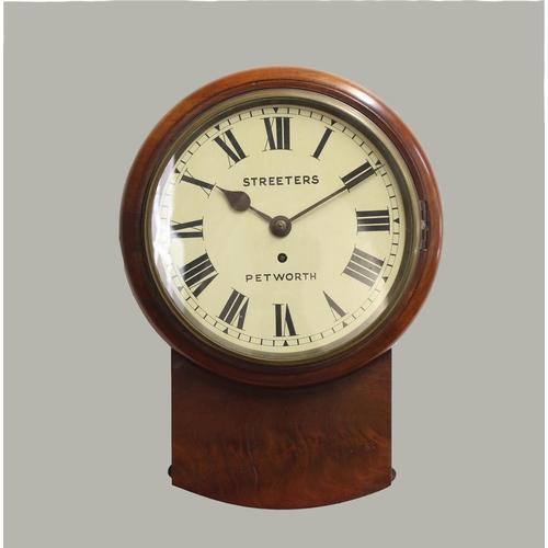 2117 - A VICTORIAN MAHOGANY DROP DIAL WALL CLOCK BY STREETERS OF PETWORTH. A drop dial wall clock with a 9 ...
