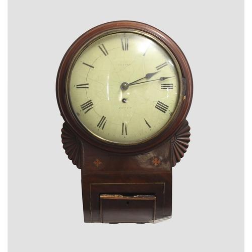 2134 - A REGENCY MAHOGANY BRISTOL MADE DROP DIAL WALL CLOCK. A mahogany cased drop dial wall clock with 9 i...