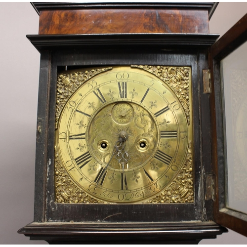 2142 - A WALNUT CASED LONGCASE CLOCK BY HADFIELD. An 18th century longcase clock, the brass dial with subsi...