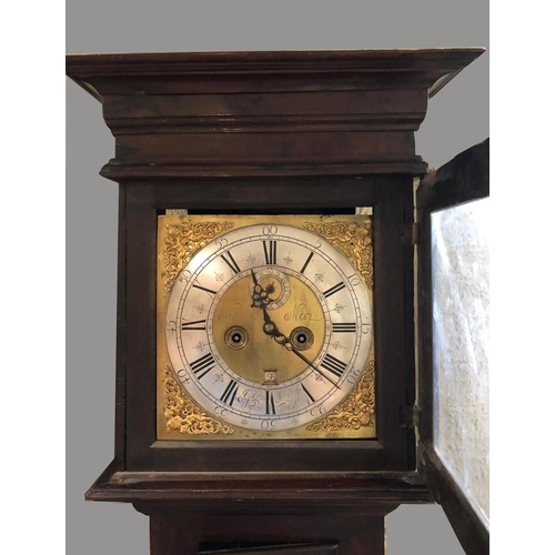 2145 - AN 18TH CENTURY YEW CASED LONGCASE CLOCK BY SANDERSON. With an 11