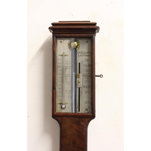 2150 - A 19TH CENTURY MAHOGANY STICK BAROMETER, the silvered dial signed Dolland, London, the case with sar...