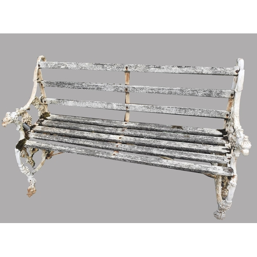 2177 - A VICTORIAN 'FURNESS RAILWAY' CAST IRON GARDEN BENCH.  The ends cast with squirrels eating grapes, t...
