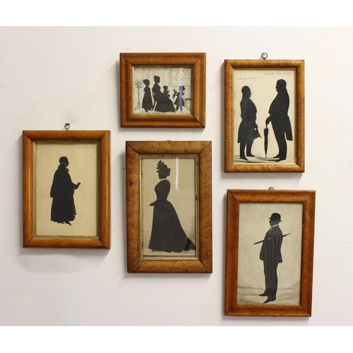 2180 - A COLLECTION OF FIVE VICTORIAN MAPLE FRAMED SILHOUETTES. A collection of silhouettes: a gentleman wi...