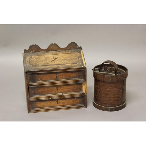 2182 - A 19TH CENTURY CANDLE BOX AND CORN BIN. A Victorian inlaid oak candle box, with a sloping lid above ...
