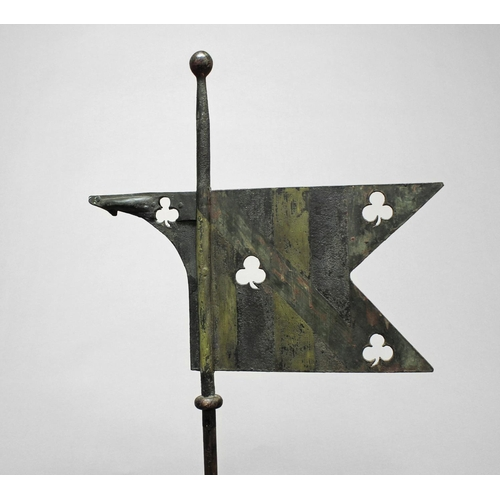 2218 - A LATE 18th/19th CENTURY WEATHER VANE. A weather vane of pennant form with three pierced trefoils an...