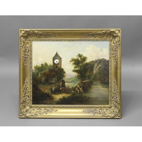 2234 - A 19TH CENTURY LANDSCAPE WITH INTEGRAL CLOCK. The painting a continental style landscape with clock ...