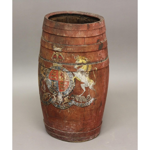 2237 - A RED PAINTED BARREL WITH ROYAL COAT OF ARMS. A red painted coopered barrel of oval bellied form dec...