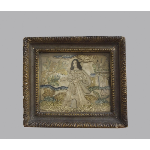 2244 - A 17TH CENTURY STUMP WORK PICTURE OF A LADY IN A LANDSCAPE. A fine stump-work picture of a lady with...