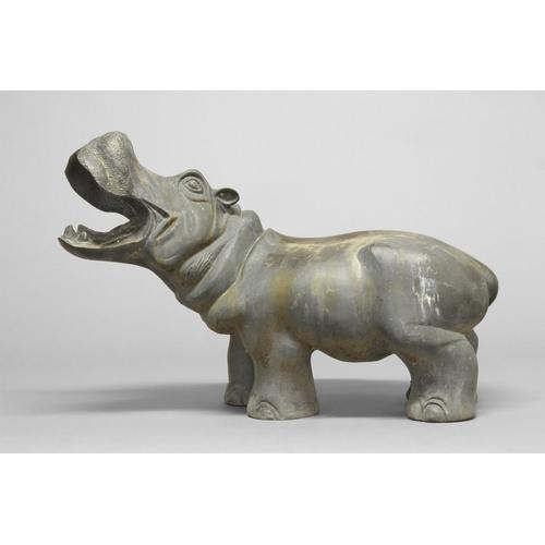 2247 - A BRONZE SCULPTURE OF A HIPPOPOTAMUS. A large sculptural figure of hippopotamus with mouth open, 43c...
