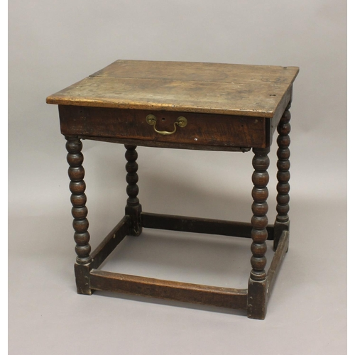 2277 - AN 18TH CENTURY OAK SIDE TABLE, the rectangular top above a single drawer with offset handle on bobb...