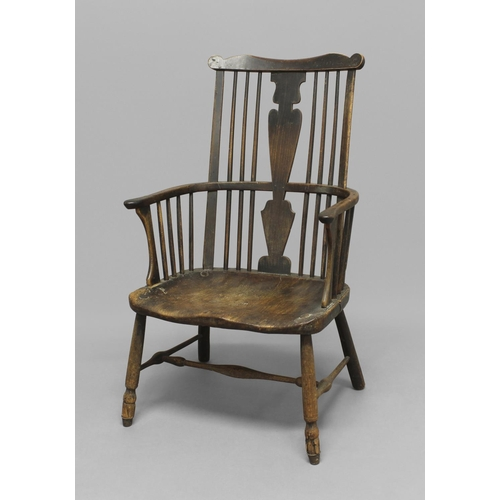 2279 - AN ASH AND ELM WINDSOR CHAIR, 19th century, the wavy top rail above straight comb back and solid sea...