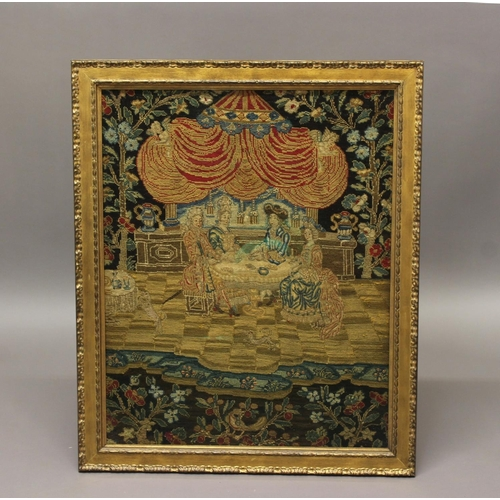 2295 - A 17TH CENTURTY NEEDLEWORK/TAPESTRY PANEL. A tapestry panel depicting two ladies and gentlemen in fi...