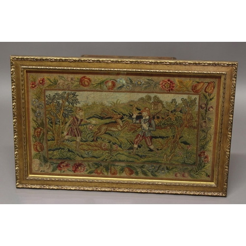 2296 - A 17th CENTURY NEEDLEWORK/TAPESTRY PANEL. A needlework and tapestry panel of two huntsman and a stag...