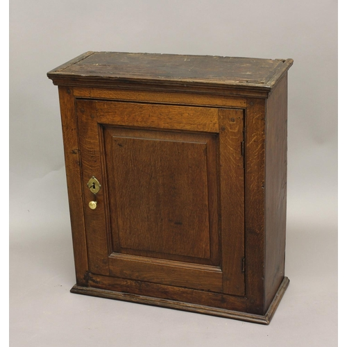 2304 - AN 18TH CENTURY OAK CUPBOARD, with panelled door, the interior with a single shelf, height 68cm, wid...