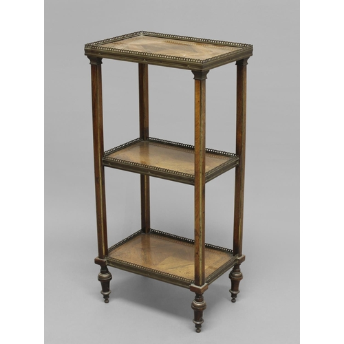 2325 - A LOUIS XV STYLE KINGWOOD THREE TIER ETAGERE, late 19th century, each quarter-veneered tier with pie...